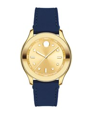Movado Bold Ionic Goldplated Steel And Silicone Strap Watch Navy Blue