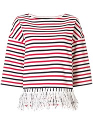 Coohem Fringed Striped T Shirt Multicolour