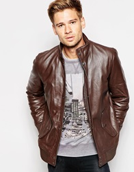 Pepe Jeans Shoreditch Leather Jacket Brown