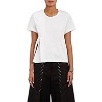 Noir Kei Ninomiya Women's Faux Leather Lattice T Shirt White