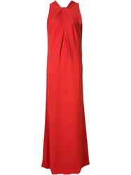 Lanvin Crepe Knotted Evening Gown Red