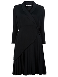 Lanvin Vintage Pleated Hem Silk Dress Black