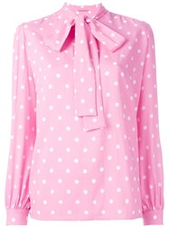 Saint Laurent Polka Dot Lavaliere Blouse Pink Purple