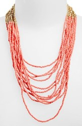 Women's Panacea Seed Bead Multistrand Necklace Coral