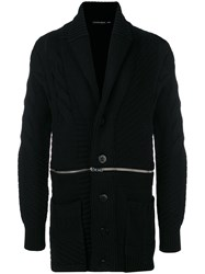 Alexander Mcqueen Zip Through Cable Knit Cardigan Men Polyamide Wool M Black