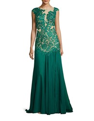 M By Mac Duggal Boatneck Lace Illusion Gown Emerald