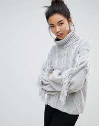 Neon Rose Relaxed Jumper With High Neck In Textured Tassel Knit Grey