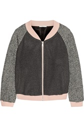 Rebecca Minkoff Ryan Wool Blend Bomber Jacket Gray