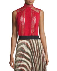 Alice Olivia Jannette Lace Sleeveless Mock Neck Top Red