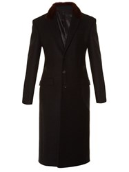 Givenchy Fur Collar Single Breasted Wool Coat Black Multi