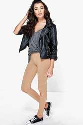 Boohoo Ripped Knee Basic Jersey Leggings Camel