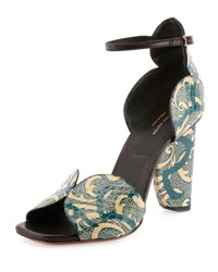 Dries Van Noten Printed Watersnake Curve Heel Sandal Petrol