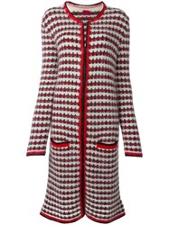 Moncler Gamme Rouge Patterned Knit Long Coat Red