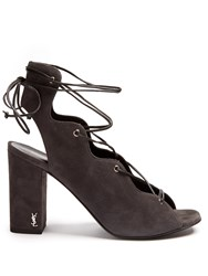 Saint Laurent Babies Lace Up Suede Sandals Grey