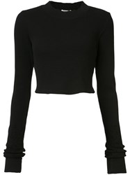 Cotton Citizen Cropped Long Sleeved T Shirt Women Xs Black