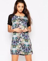 Rock And Religion Printed Shift Dress With Contrast Sleeve Blackmulti
