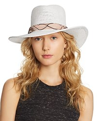 Ale By Alessandra Bailey Toyo Straw Hat White Pink