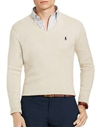 Polo Ralph Lauren Pima V Neck Sweater Oatmeal Heather