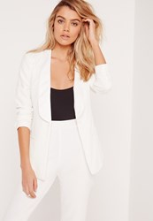 Missguided Fitted Crepe Jet Pocket Blazer White