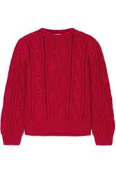 Co Cable Knit Wool And Cashmere Blend Sweater Red