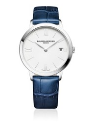 Baume And Mercier Classima 10355 Stainless Steel Alligater Embossed Leather Strap Watch Dark Blue