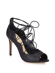 Alexandre Birman Scalloped Python Lace Up Pumps Black