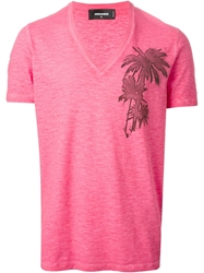 Dsquared2 V Neck T Shirt Pink And Purple