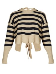 Khaite Renee Striped Tie Back Cashmere Sweater Navy Multi