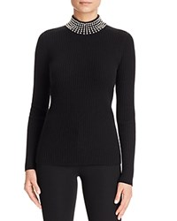 Bloomingdale's C By Faux Pearl Turtleneck Cashmere Sweater Black