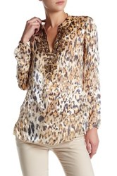 Hale Bob Animal Print Silk Blend Tunic Beige