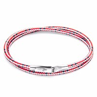 Anchor And Crew Red Dash Liverpool Silver Rope Bracelet
