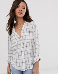 Abercrombie And Fitch Drapey Pinstripe Shirt White