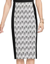 Vince Camuto Herringbone Jacquard Pencil Skirt Black