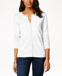Charter Club Long Sleeve Button Front Cardigan Bright White
