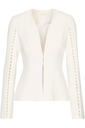 Jonathan Simkhai Faux Pearl Embellished Cutout Stretch Crepe Jacket Off White