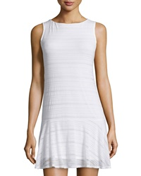 Twenty Striped Drop Waist Sleeveless Dress White