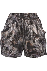 Isabel Marant Padu Metallic Silk Blend Shorts Black