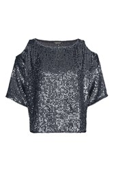 Topshop Petite Double Layered Sequin Cold Shoulder Top Navy Blue