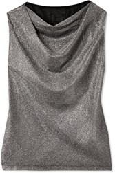 Rta Selma Draped Metallic Jersey Top Bronze