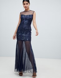 Ax Paris Embellished Maxi Dress Navy