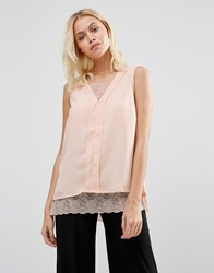 B.Young Lace Hem Sleevless Top Rose Dust Pink