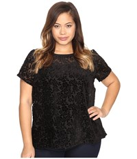 Lucky Brand Plus Size Burnt Out Top Black Women's Clothing Multi