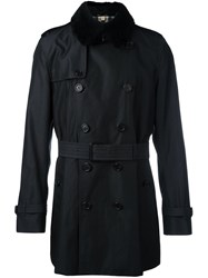 Burberry Shearling Collar Trench Black