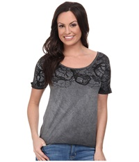 Rock And Roll Cowgirl Short Sleeve Knit 47 3398 Charcoal Women's Short Sleeve Knit Gray