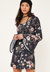 Missguided Navy Flute Sleeve Floral Printed Skater Dress