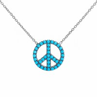 Lucky Eyes Turquoise Peace Symbol Necklace Silver