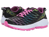Hoka One One Clayton 2 Black Fuchsia Green Glow Women's Running Shoes Brown