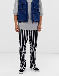 Obey Easy Striped Pants In Black White