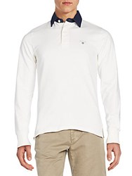 Gant Regular Fit Contrast Collar Polo Shirt Bianco