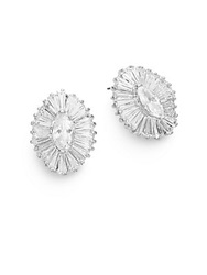 Cz By Kenneth Jay Lane Marquis Brilliance Earrings Silver
